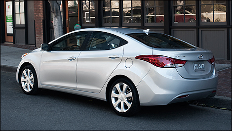 2012 Hyundai Elantra rear 3/4 view