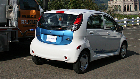 2012 Mitsubishi i-MiEV rear 3/4 view