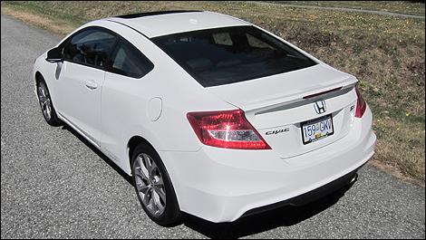 2012 Honda Civic Coupe Si rear 3/4 view