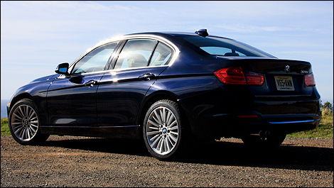 2012 BMW 3 Series Sedan rear 3/4 view