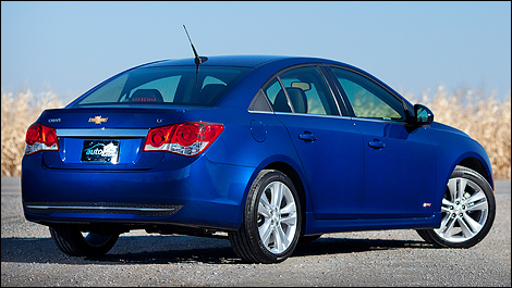 2012 Chevrolet Cruze LT Turbo rear 3/4 view
