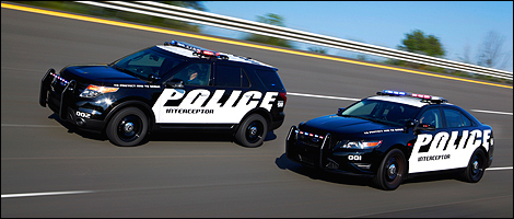2013 Ford Police Interceptor Sedan and Utility front 3/4 view