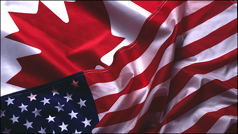United States and Canada flags