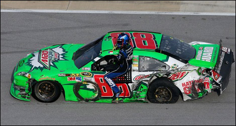 NASCAR Dale Earnhardt Jr wrecked car Talladega