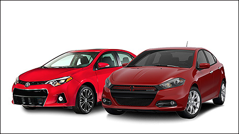 Toyota Corolla and Dodge Dart 3/4 view