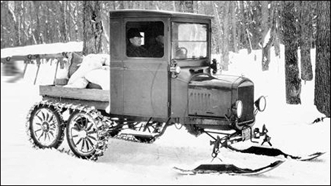 Classic 1920 Ford Model TT converted into snowmobile
