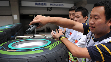 F1 Pirelli tire bar code