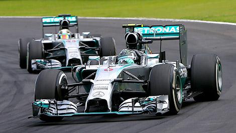 F1 Nico Rosberg Mercedes W05 Lewis Hamilton