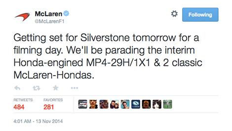 F1 McLaren-Honda twitter MP4-29H/1X1