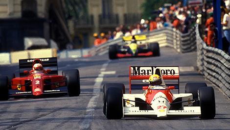Ayrton Senna (McLaren) fighting Nigel Mansell (Ferrari), 1990 Monaco Grand Prix